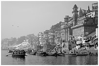 Munshi Ghat and Ganges River. Varanasi, Uttar Pradesh, India (black and white)