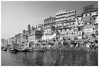 Steps of Ahilyabai Ghat and Ganga River. Varanasi, Uttar Pradesh, India (black and white)