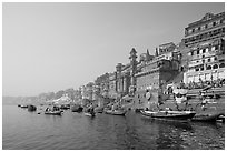 Bathing ghats and Ganga River at sunrise. Varanasi, Uttar Pradesh, India (black and white)