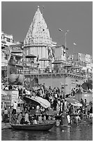 Temple and Dasaswamedh Ghat. Varanasi, Uttar Pradesh, India (black and white)
