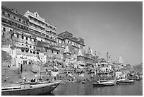 Steps of Ahilyabai Ghat and Ganges River. Varanasi, Uttar Pradesh, India (black and white)