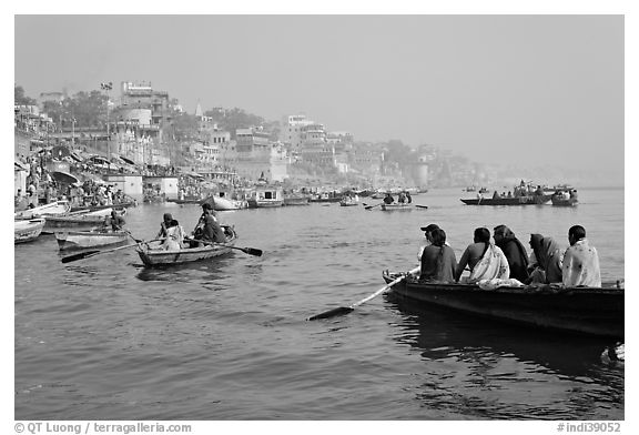 Rowboats on Ganges River. Varanasi, Uttar Pradesh, India (black and white)