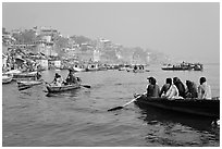 Rowboats on Ganges River. Varanasi, Uttar Pradesh, India ( black and white)