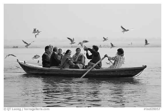 Indian tourists on rawboat surrounded by birds. Varanasi, Uttar Pradesh, India (black and white)