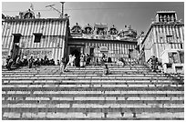 Colorful stripes and steps of shrine at Kedar Ghat. Varanasi, Uttar Pradesh, India ( black and white)