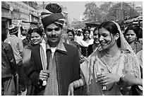Bride and groom in a street. Varanasi, Uttar Pradesh, India (black and white)