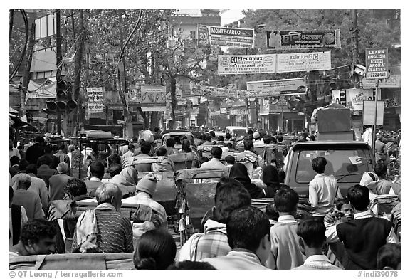 Street Gridlock. Varanasi, Uttar Pradesh, India (black and white)