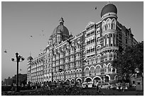 Taj Mahal Palace Hotel and pigeons. Mumbai, Maharashtra, India (black and white)