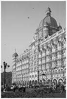 Taj Mahal Intercontinental Hotel and pigeons. Mumbai, Maharashtra, India (black and white)