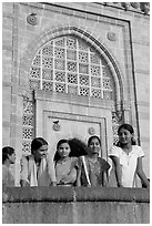 Girls in front of Gateway of India. Mumbai, Maharashtra, India (black and white)