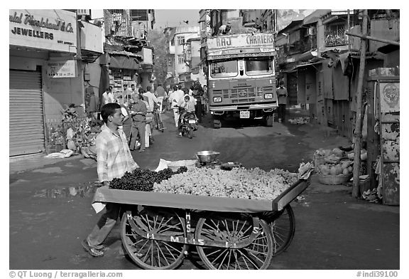Vegetable vendor pushing cart with truck in background, Colaba Market. Mumbai, Maharashtra, India