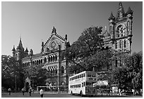Yellow double-decker bus in front of Victoria Terminus. Mumbai, Maharashtra, India ( black and white)
