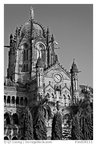 Cathedral-like Chhatrapati Shivaji Terminus main tower. Mumbai, Maharashtra, India (black and white)