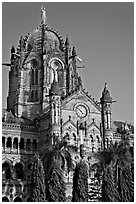 Cathedral-like Chhatrapati Shivaji Terminus main tower. Mumbai, Maharashtra, India ( black and white)