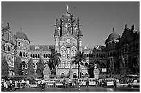 Victoria Terminus (Chhatrapati Shivaji Terminus), late afternoon. Mumbai, Maharashtra, India ( black and white)