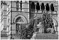 Lion and facade, Chhatrapati Shivaji Terminus. Mumbai, Maharashtra, India ( black and white)