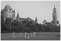 Cricket players, Oval Maiden, High Court, and University of Mumbai. Mumbai, Maharashtra, India (black and white)