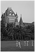 Cricket players and high court. Mumbai, Maharashtra, India (black and white)
