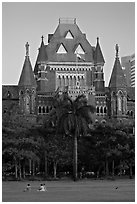 Oval Maiden and High Court. Mumbai, Maharashtra, India (black and white)