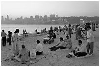 Chowpatty Beach, sunset. Mumbai, Maharashtra, India (black and white)