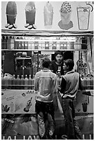 Stall with colorful drinks, Chowpatty Beach. Mumbai, Maharashtra, India ( black and white)