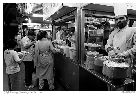Panipuri stall, Chowpatty Beach. Mumbai, Maharashtra, India (black and white)