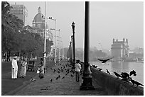 Waterfront, Colaba, early morning. Mumbai, Maharashtra, India (black and white)