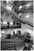 Staircase inside Taj Mahal Palace Hotel. Mumbai, Maharashtra, India (black and white)