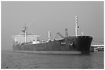 Oil Tanker, Mumbai Harbor. Mumbai, Maharashtra, India (black and white)