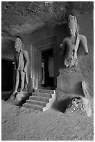 Siva shrine, main  Elephanta cave. Mumbai, Maharashtra, India ( black and white)
