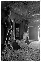 Figures of Dwarpala on Shiva shrine, Elephanta caves. Mumbai, Maharashtra, India ( black and white)