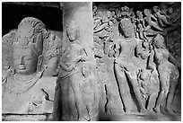 Mahesh Murti and Gangadhara Siva carved in rock, main  Elephanta cave. Mumbai, Maharashtra, India ( black and white)