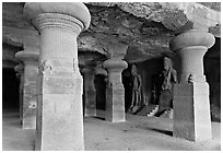 Main Elephanta cave, Elephanta Island. Mumbai, Maharashtra, India ( black and white)