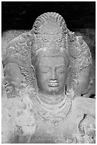 Triple-headed Shiva sculpture, Elephanta caves. Mumbai, Maharashtra, India ( black and white)