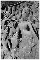 Ardhanarishwar rock-carved sculpture, main Elephanta cave. Mumbai, Maharashtra, India (black and white)