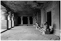 Mandapae, Elephanta caves. Mumbai, Maharashtra, India (black and white)