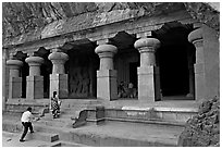 Cave hewn from solid rock, Elephanta Island. Mumbai, Maharashtra, India (black and white)