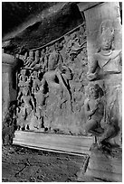 Shiva Shakti rock-carved sculpture, main Elephanta cave. Mumbai, Maharashtra, India (black and white)