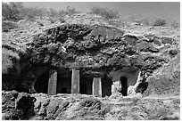 Rock-caved cave, Elephanta Island. Mumbai, Maharashtra, India ( black and white)
