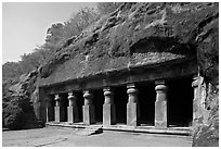 Outside of rock-cut cave, Elephanta Island. Mumbai, Maharashtra, India ( black and white)