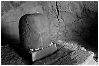 Lingam, Elephanta caves. Mumbai, Maharashtra, India (black and white)