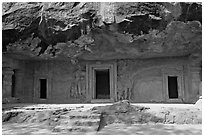 Cave with sculptures and entrances, Elephanta Island. Mumbai, Maharashtra, India ( black and white)