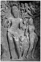Gangadhara (descent of the Ganges) sculpture, main Elephanta cave. Mumbai, Maharashtra, India ( black and white)