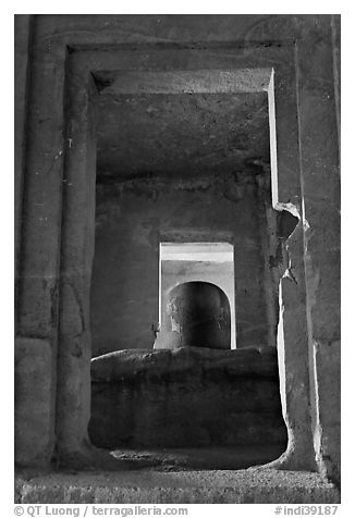 Linga in Sanctorum of Siva shrine, Elephanta caves. Mumbai, Maharashtra, India (black and white)