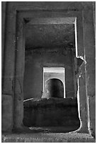 Linga in Sanctorum of Siva shrine, Elephanta caves. Mumbai, Maharashtra, India ( black and white)
