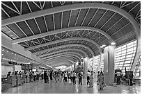 Domestic terminal, Mumbai Airport. Mumbai, Maharashtra, India ( black and white)