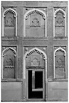 Wall detail of Jehangiri Mahal, Agra Fort. Agra, Uttar Pradesh, India (black and white)