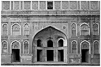 Alcove and wall, Jehangiri Palace, Agra Fort. Agra, Uttar Pradesh, India (black and white)