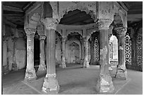 Pilars in octogonal plan inside Jehangiri Mahal, Agra Fort. Agra, Uttar Pradesh, India (black and white)