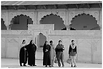 Women in the Khas Mahal, Agra Fort. Agra, Uttar Pradesh, India (black and white)